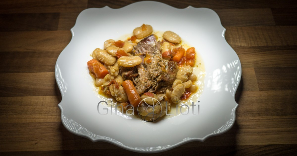 Oven baked lamb with beans